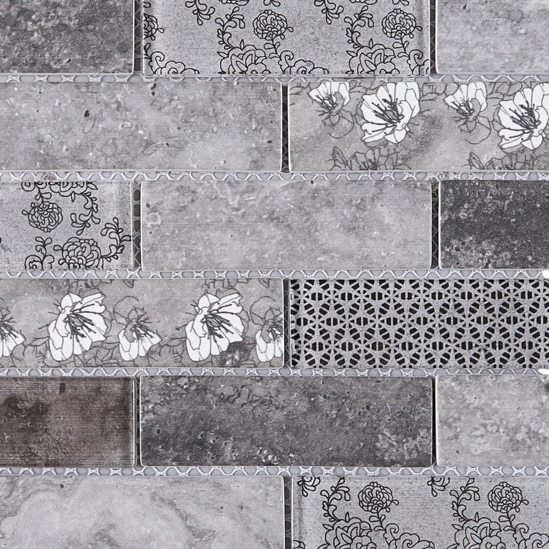 REGL-03  Sparkle - Grey Glass And Wall Paper Recycle Glass Mosaic Tile