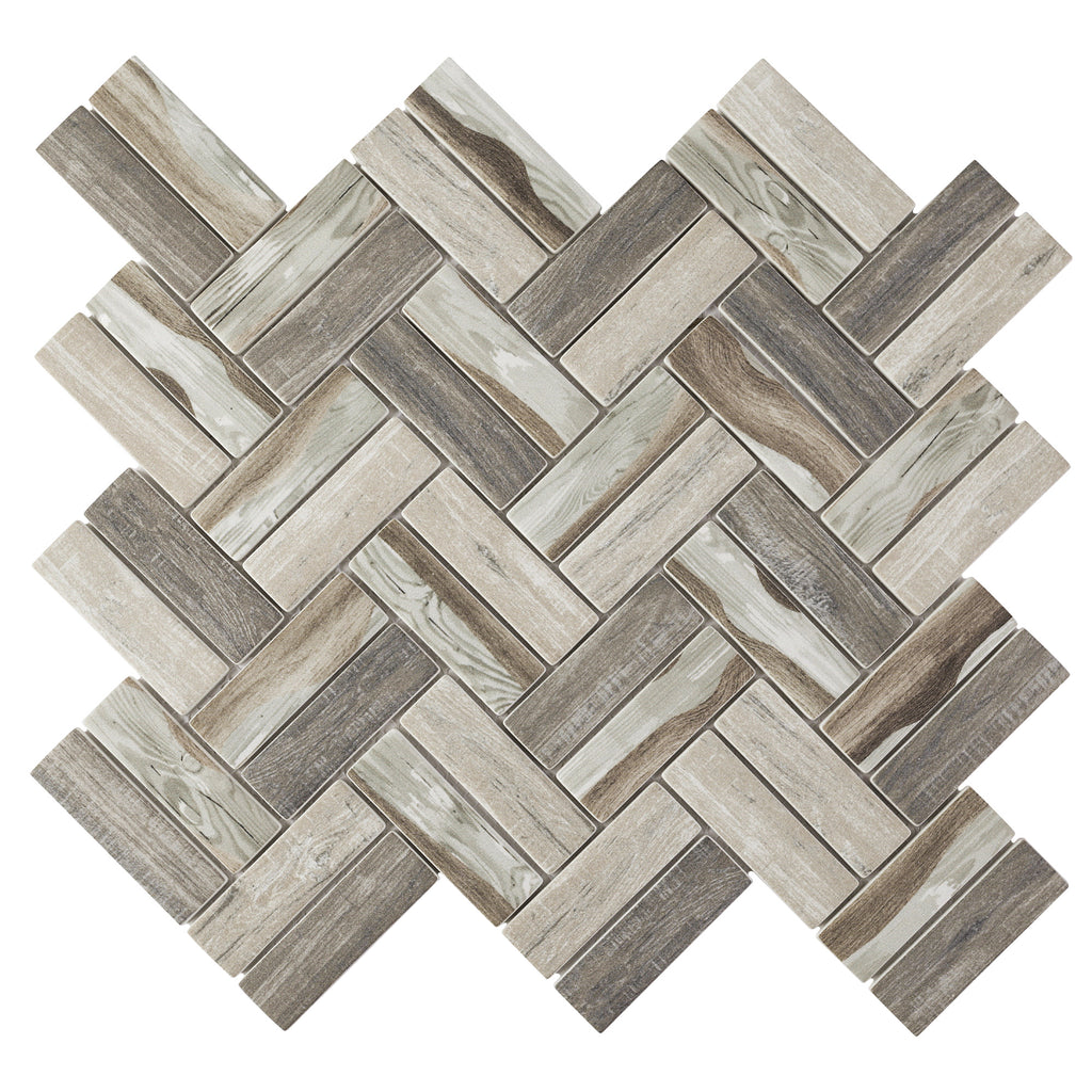 REGL-07 Recycle Glass Brown Herringbone Beige Mosaic Tile