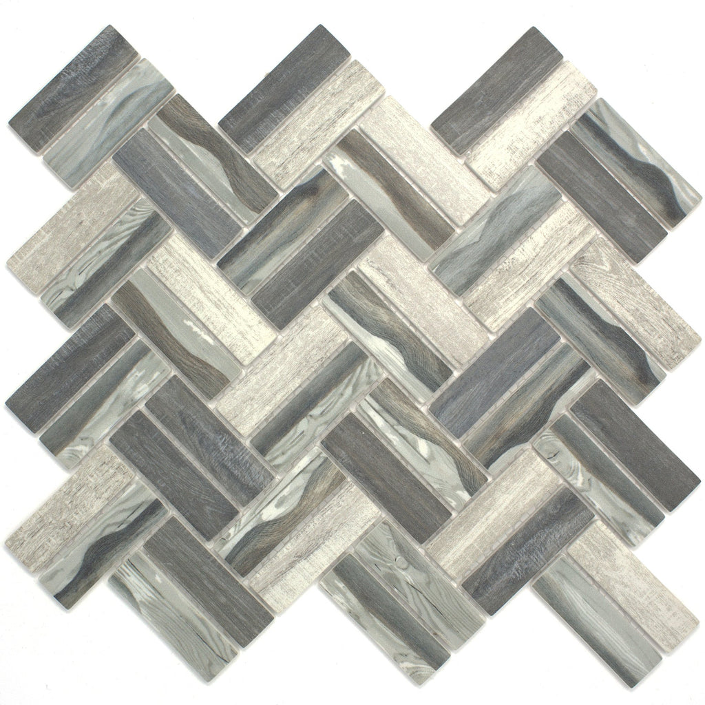 REGL-08 Recycle Glass Grey Herringbone Mosaic Tile