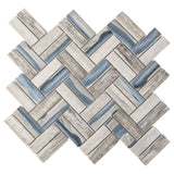REGL-9 Recycle Glass Blue Herringbone Mosaic Tile