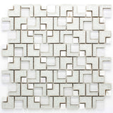 RPC-12 White Cracked Glass Maze Randon Mosaic Tile Backsplash