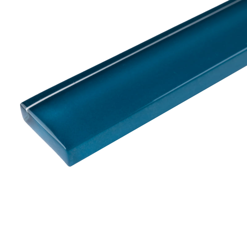 "CLIN-15  Turquoise Glass Pencil Liner Wall Trim Molding 1""X12"", 1/2""X12"""