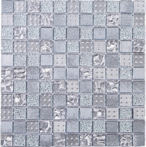 1x1 square cubic silver glass mosaic tile - Multile