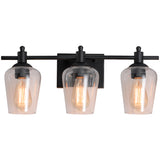 WL0001-3-01 3 Light Dimmable LED Vanity Light Modern Wall Sconces (Black)