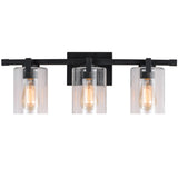WL0002-3-01 3 Light Dimmable LED Vanity Light Modern Wall Sconces (Black)