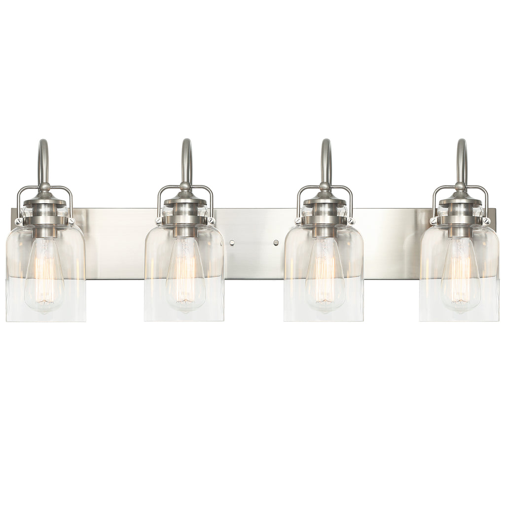 WL0004-4-02 4 Light Dimmable LED Vanity Light Modern Wall Sconces (Silver)