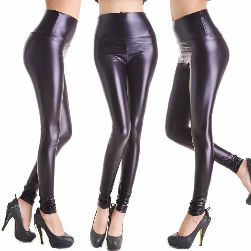 Dark Purple - Faux Leather Stretch Legging High Waist Leggings - Legs11 Leggings