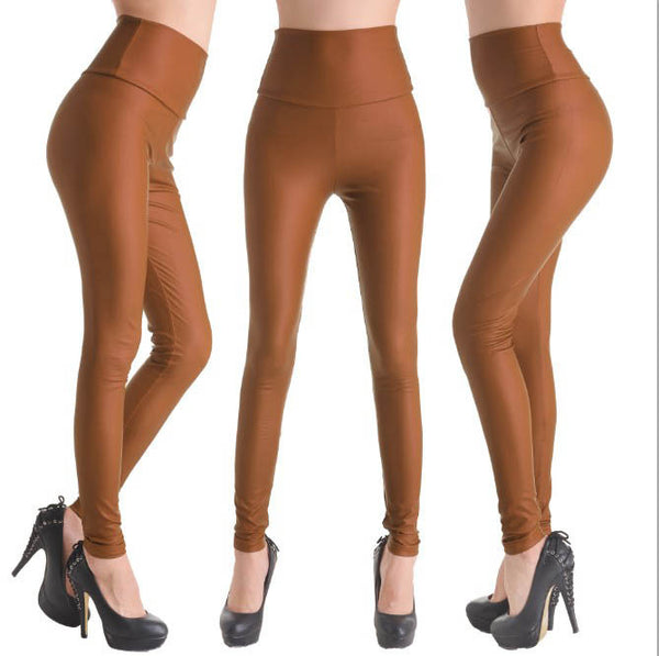 Brown - Faux Leather Stretch Legging High Waist Leggings - Legs11 Leggings