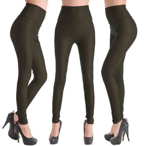 Karki - Faux Leather Stretch Legging High Waist Leggings - Legs11 Leggings