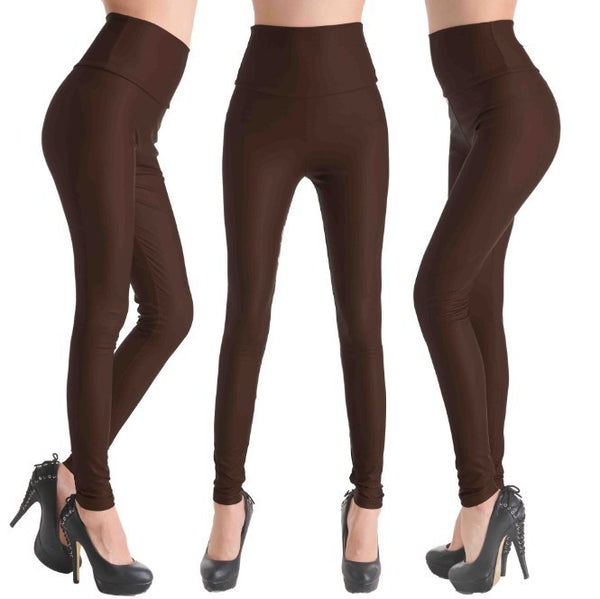 Coffee - Faux Leather Stretch Legging High Waist Leggings - Legs11 Leggings