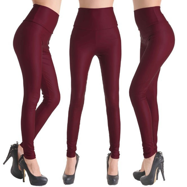 Red Wine - Faux Leather Stretch High Waist Leggings - Legs11 Leggings
