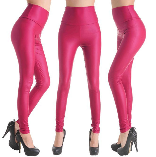 Pink - Faux Leather Stretch Legging High Waist Leggings - Legs11 Leggings