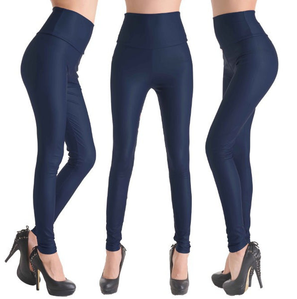 Navy Blue - Faux Leather Stretch Legging High Waist Leggings - Legs11 Leggings
