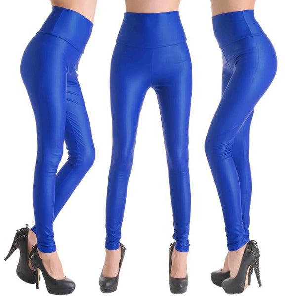 Blue Faux Leather Leggings - Legs11 Leggings