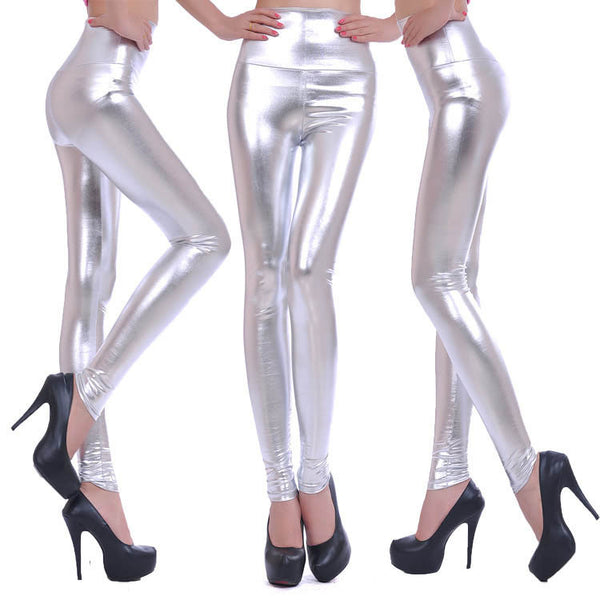 Silver - Faux Leather Stretch High Waist Leggings - Legs11 Leggings