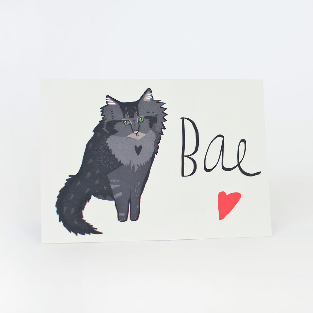 bae cat lover card