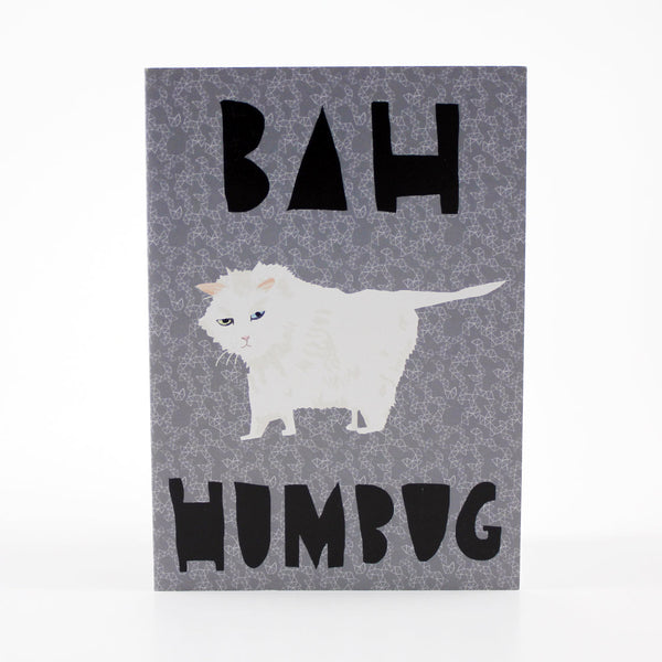 bah humbug white cat christmas card