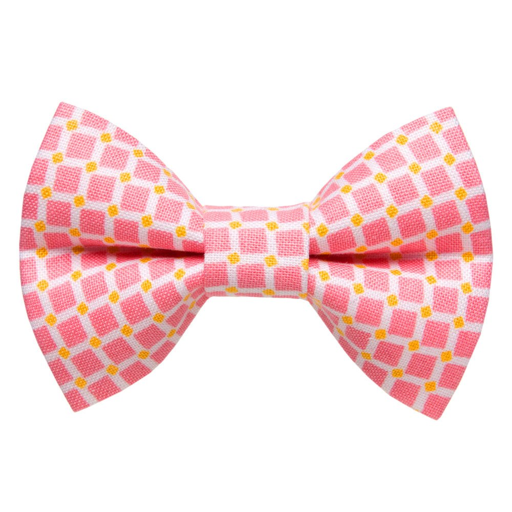 pink check cat bow tie