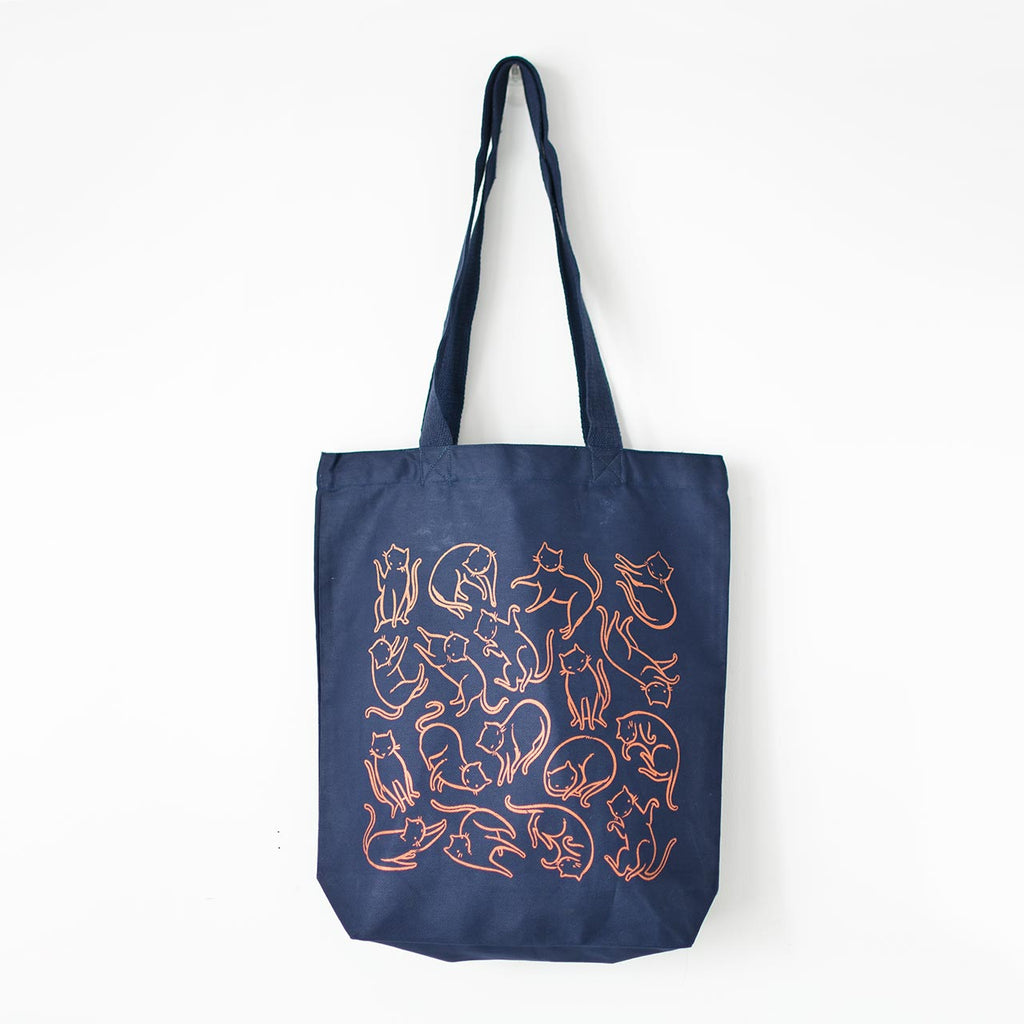 navy canvas tote bag copper cats