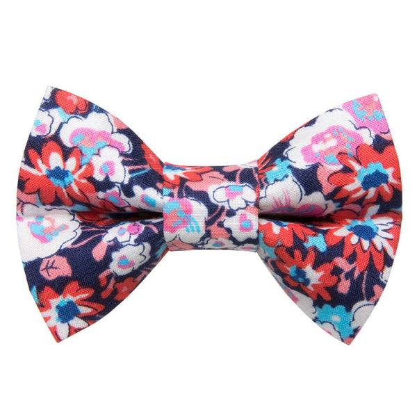 purple pink and blue floral cat bow tie