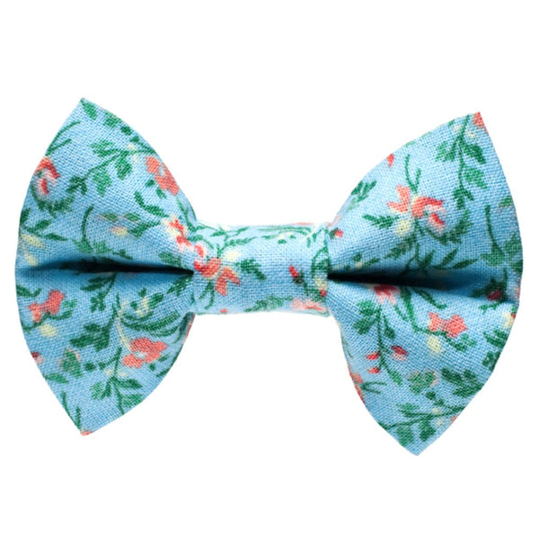 blue floral cat bow tie