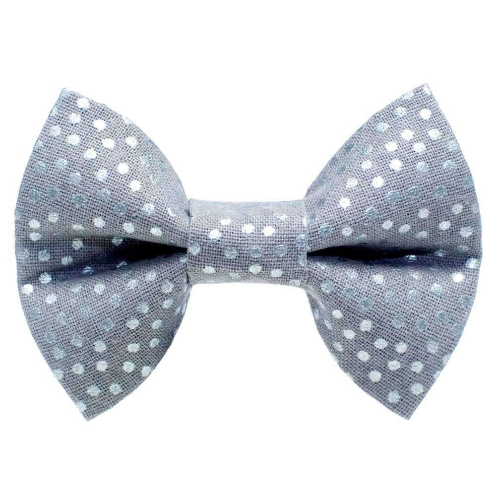 grey with silver dots cat bow tie