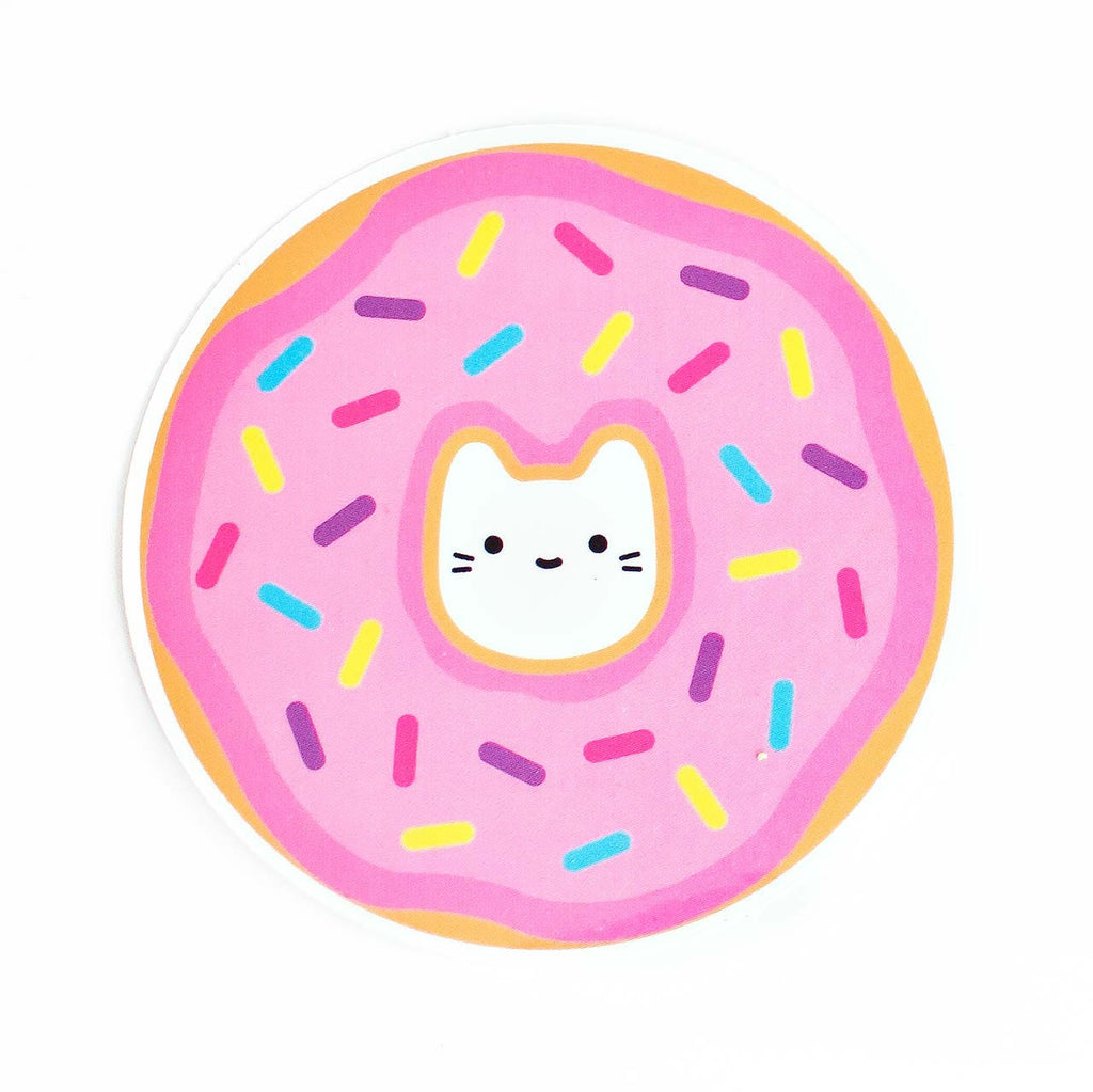 donut cat vinyl sticker