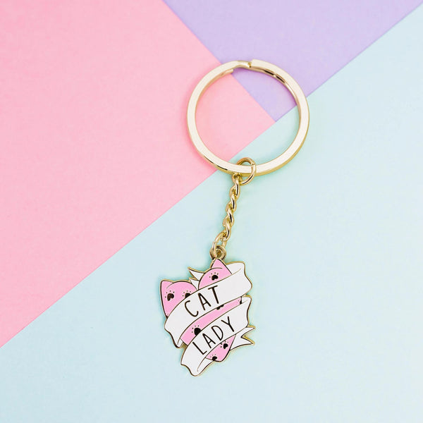 pink and gold cat lady keychain