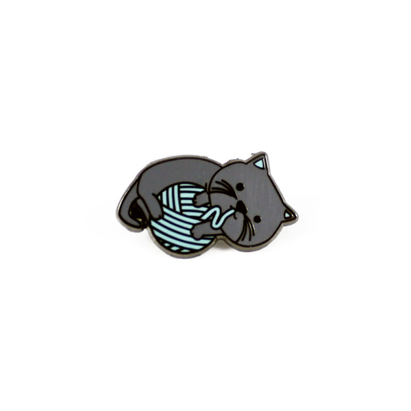 grey cat playing with yarn ball enamel pin
