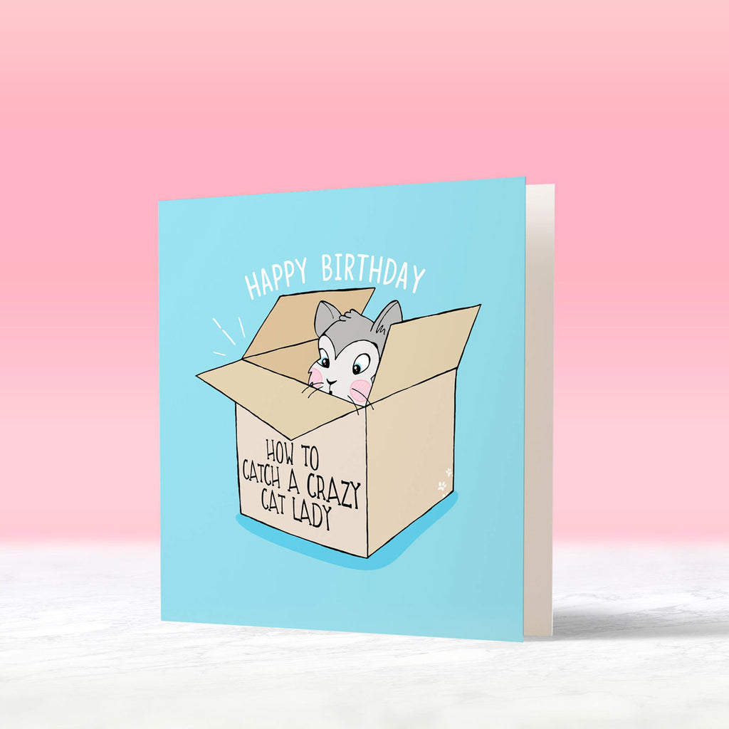 cat in box cat lady birthday card