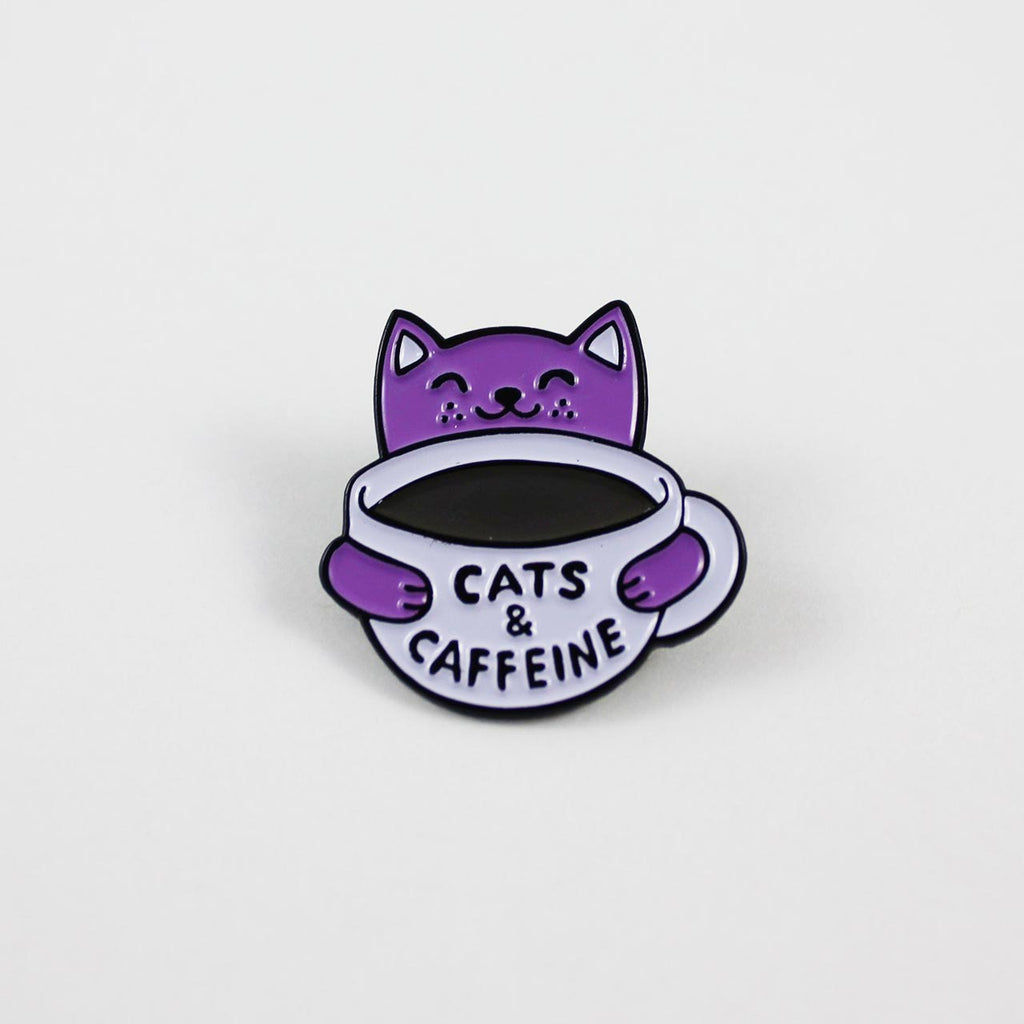 cats and coffee enamel pin