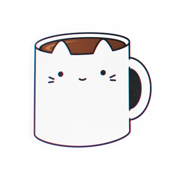 coffee cat vinyl sticker