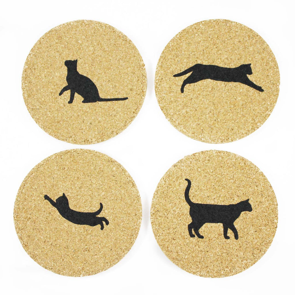 eco friendly cat coasters set of four