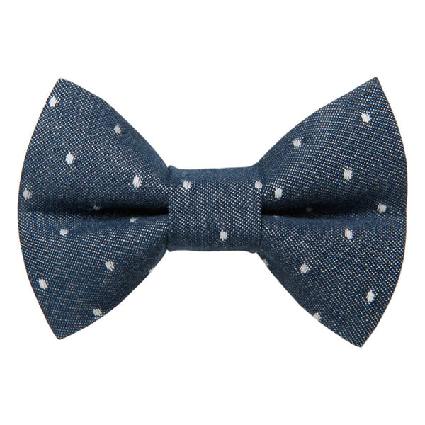 chambray polka dot cat bow tie