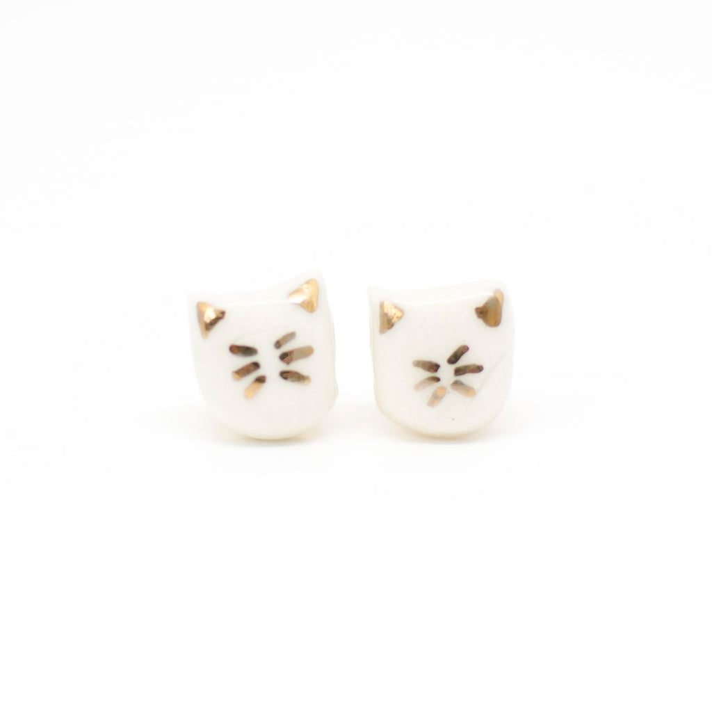 ceramic cat earrings