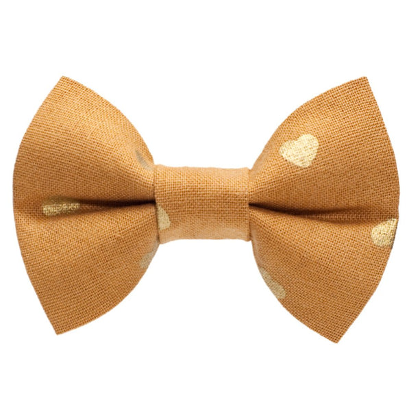 gold heart cat bow tie