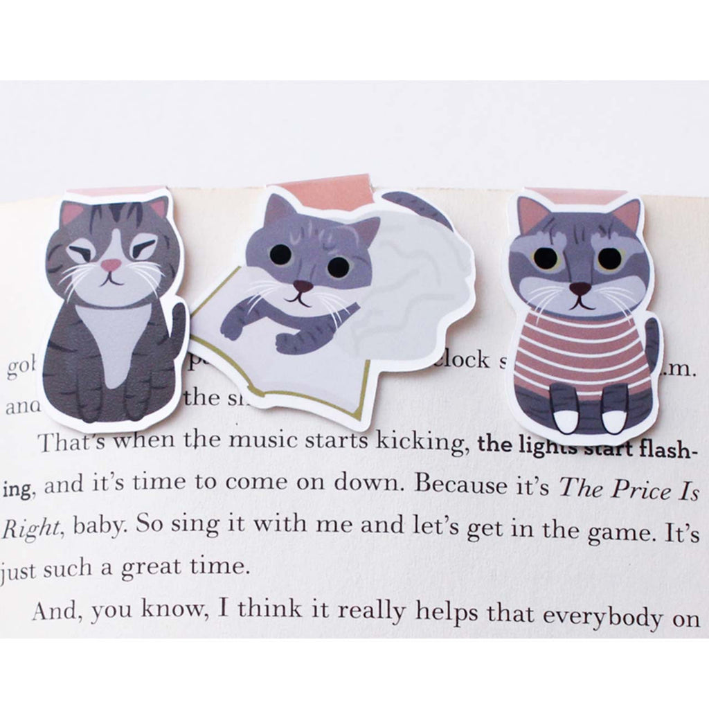 grey cat bookmarks