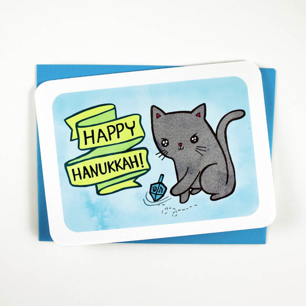 cat lover hanukkah card