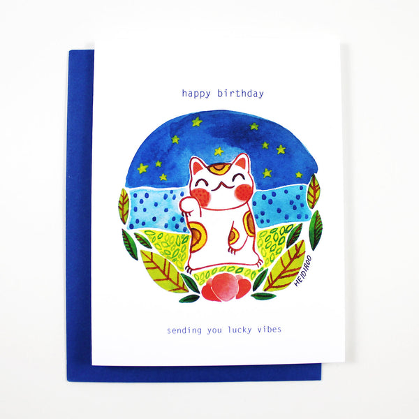 lucky cat birthday card