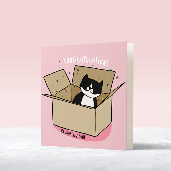 cat lover pink housewarming card