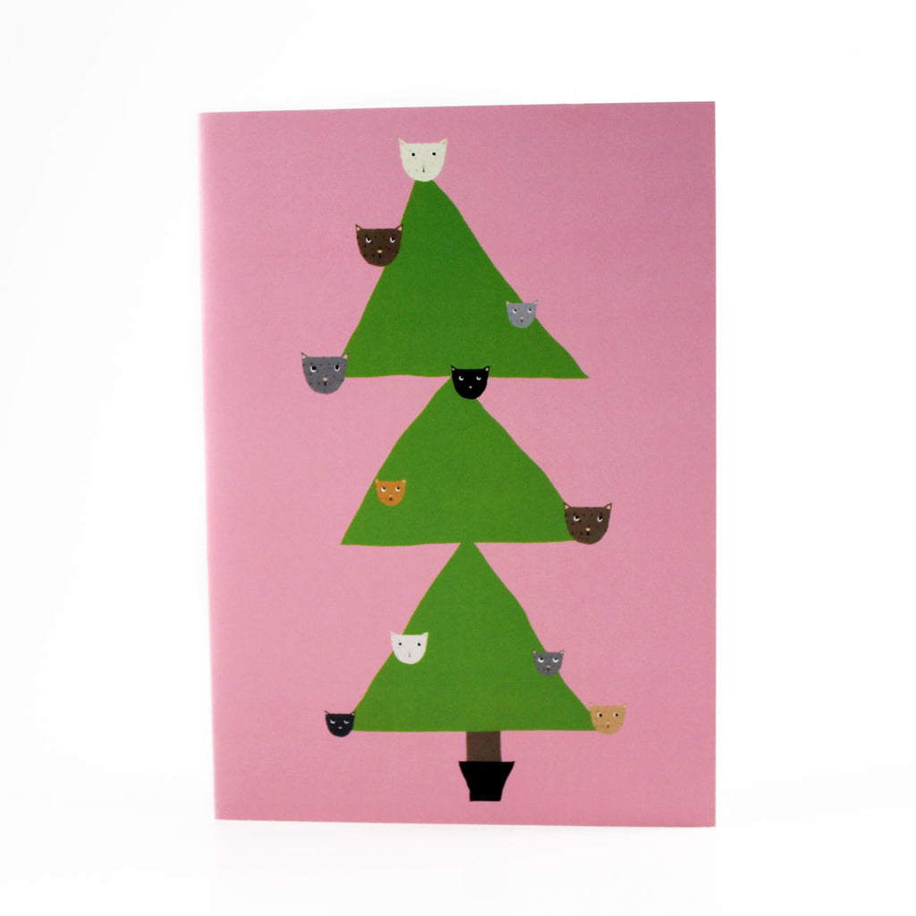 cats in christmas tree holiday card