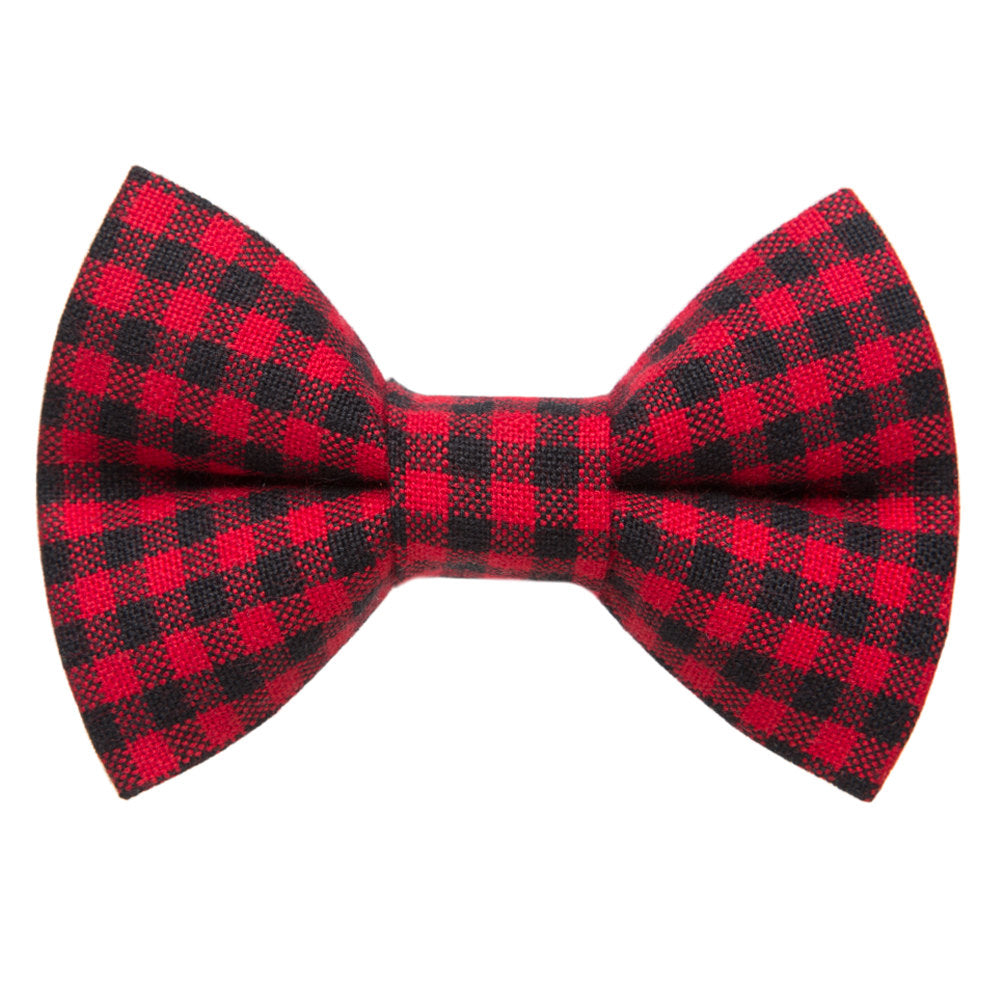 red plaid detachable cat bow tie