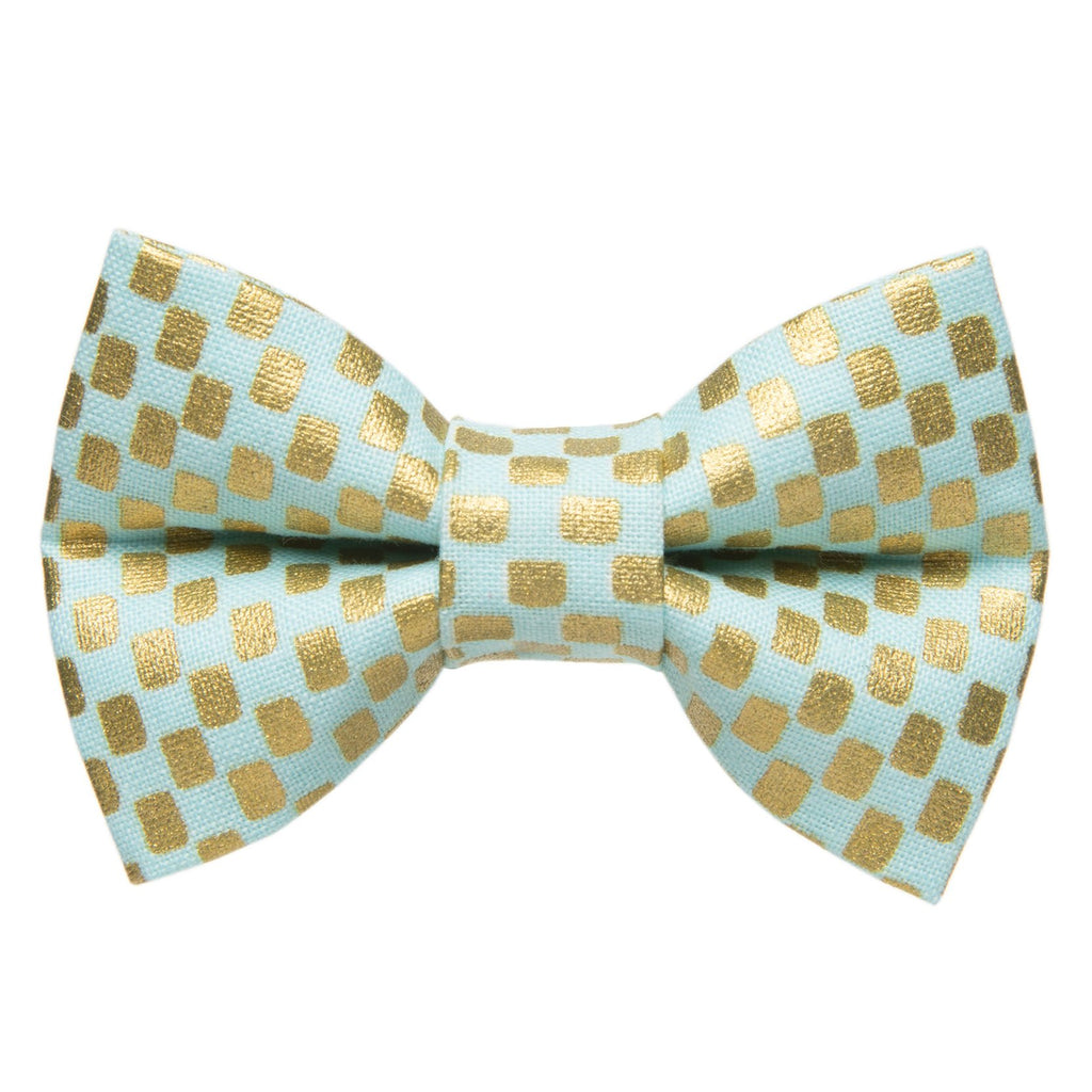 mint and gold checkered cat bow tie
