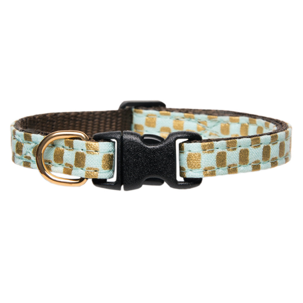 gold and mint checked cat collar