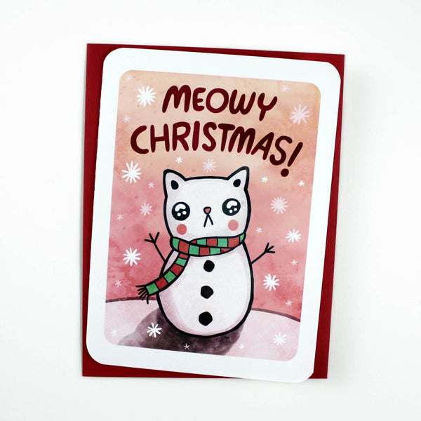 snowman cat meowy christmas card