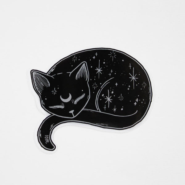 mystical black cat vinyl sticker