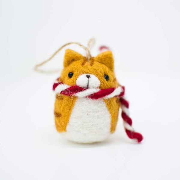 orange tabby christmas ornament
