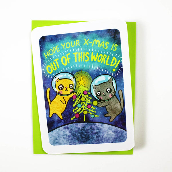 out of this world xmas cat lovers holiday card