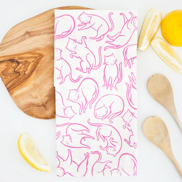 pink cats flour sack tea towel