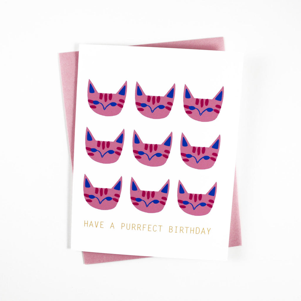 pink cats birthday card